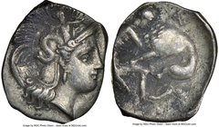 CALABRIA. Tarentum. 4th century BC. AR diobol (13mm, 6h). NGC Choice VF. Ca. 325-280 BC. Head of Athena right, wearing crested Attic helmet decorated ...