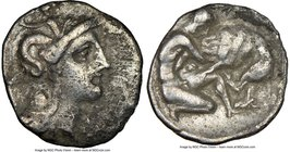 CALABRIA. Tarentum. 4th century BC. AR diobol (12mm, 6h). NGC VF. Ca. 325-280 BC. Head of Athena right, wearing crested Attic helmet decorated with fi...