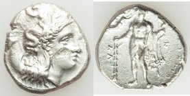LUCANIA. Heraclea. Ca. 330-325 BC. AR stater (21mm, 7.34 gm, 9h). Fine, test punch. Head of Athena right, wearing crested Corinthian helmet pushed bac...