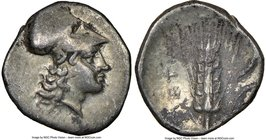 LUCANIA. Metapontum. Ca. 325-275 BC. AR diobol (12mm, 1h). NGC Choice VF. Head of Athena right, wearing Corinthian helmet pushed back on head / META, ...