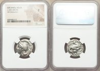LUCANIA. Velia. Ca. 440-400 BC. AR didrachm or nomos (21mm, 10h). NGC Fine. Head of Athena left, wearing laureate crested Attic helmet / YEΛ-HT-ΩN, li...