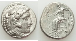 MACEDONIAN KINGDOM. Alexander III the Great (336-323 BC). AR tetradrachm (25mm, 16.86 gm, 1h). VF, die shift. Late lifetime-early posthumous issue of ...