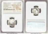 ATTICA. Athens. Ca. 510/500-480 BC. AR tetradrachm (20mm, 17.03 gm, 4h). NGC Choice Fine 3/5 - 3/5. Head of Athena right, wearing crested Attic helmet...