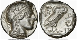 ATTICA. Athens. Ca. 440-404 BC. AR tetradrachm (26mm, 17.19 gm, 12h). NGC Choice AU 5/5 - 4/5. Mid-mass coinage issue. Head of Athena right, wearing c...