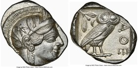 ATTICA. Athens. Ca. 440-404 BC. AR tetradrachm (27mm, 17.22 gm, 9h). NGC Choice AU 4/5 - 5/5. Mid-mass coinage issue. Head of Athena right, wearing cr...