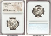 ATTICA. Athens. Ca. 440-404 BC. AR tetradrachm (25mm, 17.17 gm, 6h). NGC Choice AU 4/5 - 4/5. Mid-mass coinage issue. Head of Athena right, wearing cr...