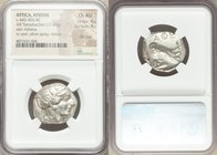 ATTICA. Athens. Ca. 440-404 BC. AR tetradrachm (24mm, 17.20 gm, 3h). NGC Choice AU 4/5 - 4/5, flan flaw. Mid-mass coinage issue. Head of Athena right,...