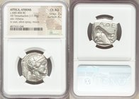 ATTICA. Athens. Ca. 440-404 BC. AR tetradrachm (25mm, 17.18 gm, 3h). NGC Choice AU 2/5 - 4/5. Mid-mass coinage issue. Head of Athena right, wearing cr...