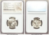 ATTICA. Athens. Ca. 440-404 BC. AR tetradrachm (25mm, 17.19 gm, 10h). NGC Choice AU 5/5 - 2/5, test cuts. Mid-mass coinage issue. Head of Athena right...
