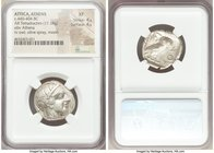 ATTICA. Athens. Ca. 440-404 BC. AR tetradrachm (23mm, 17.18 gm, 6h). NGC XF 4/5 - 4/5. Mid-mass coinage issue. Head of Athena right, wearing crested A...