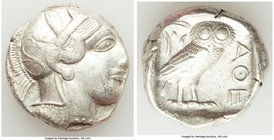ATTICA. Athens. Ca. 440-404 BC. AR tetradrachm (24mm, 17.14 gm, 4h). VF. Mid-mass coinage issue. Head of Athena right, wearing crested Attic helmet or...