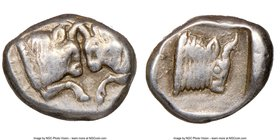 CARIA. Uncertain mint. Ca. 450-400 BC. AR obol (10mm, 12h). NGC Choice VF. Milesian standard. Confronted foreparts of two bulls, each with extended fo...