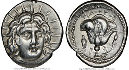 CARIAN ISLANDS. Rhodes. Ca. 250-200 BC. AR didrachm (21mm, 12h). NGC Choice XF. Timotheus, magistrate. Radiate head of Helios facing, turned slightly ...