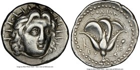 CARIAN ISLANDS. Rhodes. Ca. 250-205 BC. AR didrachm (21mm, 2h). NGC VF. Ca. 250 BC. Radiate head of Helios facing, turned slightly right, hair parted ...