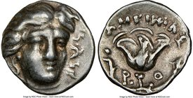 CARIAN ISLANDS. Rhodes. Ca. 230-205 BC. AR hemidrachm (11mm, 1h). NGC Choice VF. Ameinias, magistrate. Facing head of Helios, turned slightly right, h...
