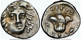 CARIAN ISLANDS. Rhodes. Ca. 205-190 BC. AR hemidrachm (11mm, 12h). NGC XF. Gorgos, magistrate. Facing head of Helios, turned slightly right, hair part...