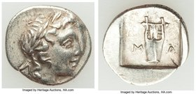 LYCIAN LEAGUE. Masicytes. Ca. 1st century BC. AR hemidrachm (15mm, 1.71 gm, 12h). About XF. Series 1. Laureate head of Apollo right; Λ-Y below / M-A, ...