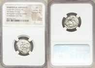 PAMPHYLIA. Aspendus. Ca. mid-5th century BC. AR stater (20mm, 9.62 gm, 11h). NGC VF 4/5 - 4/5. Helmeted nude hoplite warrior advancing right, shield i...