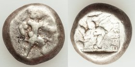 PAMPHYLIA. Aspendus. Ca. mid-5th century BC. AR stater (18mm, 10.94 gm, 1h). Fine, countermark. Helmeted nude hoplite warrior advancing right, shield ...