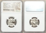 CILICIA. Mallus. Ca. 440-385 BC. AR stater (22mm, 11.00 gm, 2h). NGC Choice VF 4/5 - 1/5, test cut. Half-length double winged male figure with janifor...