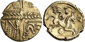 CELTIC BRITAIN, Catuvellauni. Unknown ruler, circa 55-50 BC. Stater (Gold, 18 mm, 5.88 g, 6 h), 'Early Whaddon Chase' type, with rounded wing. Devolve...