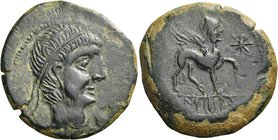 SPAIN. Castulo. Mid 1st century BC. Unit (Bronze, 28 mm, 14.55 g). Diademed male head to right; in field to right, here barely visible, crescent to ri...