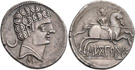 SPAIN. Sekobirikes. Circa 130-72 BC. Denarius (Silver, 21 mm, 3.75 g, 6 h). Young male head to right, wearing pearl necklace; behind, ∵ and a crescent...