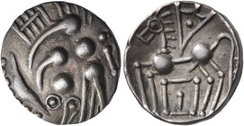 CELTIC, Southern Gaul. Elusates. Circa 100-50 BC. Drachm (Silver, 15 mm, 3.20 g). Devolved and celticized head to right. Rev. Celticized pegasos to le...