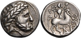 CELTIC, Carpathian region. Uncertain tribe. Circa 3rd-2nd century BC. Tetradrachm (Silver, 24.5 mm, 13.75 g, 7 h), with the 'Audoleon' monogram, but c...