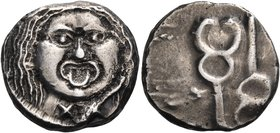 ETRURIA. Populonia. Circa 3rd century BC. 20 Asses (Silver, 15.3 mm, 8.62 g, 12 h). Facing head of Metus (Gorgon), mark of value (XX) below. Rev. Two ...