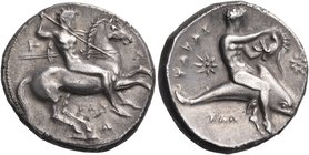 CALABRIA. Tarentum. Circa 333-331/0 BC. Didrachm or nomos (Silver, 21 mm, 7.86 g, 12 h), by the Kal... engraver, Kal.... Nude rider on horse prancing ...