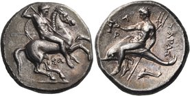 CALABRIA. Tarentum. Circa 315-302 BC. Didrachm or nomos (Silver, 20 mm, 7.87 g, 2 h). Nude rider on horse galloping to right, stabbing downwards with ...