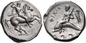 CALABRIA. Tarentum. Circa 290-281 BC. Didrachm or nomos (Silver, 20 mm, 7.93 g, 8 h), Sim... and Philis... Nude rider on horse prancing to right, hold...