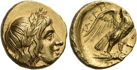 CALABRIA. Tarentum. Circa 276-272 BC. Triobol or quarter stater (Gold, 11.5 mm, 2.13 g, 5 h). Laureate head of Apollo to right; [behind neck, NK]. Rev...