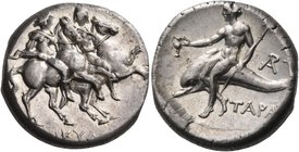 CALABRIA. Tarentum. Circa 272-240 BC. Didrachm or nomos (Silver, 19 mm, 6.61 g, 12 h), Nikylos. ΝΙΚΥΛΟΣ The Dioscouri, wearing peaked helmets and cloa...