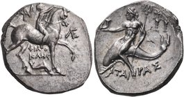 CALABRIA. Tarentum. Circa 240-228 BC. Didrachm or nomos (Silver, 16 mm, 6.62 g, 1 h), Philokles. Nude jockey riding horse walking to right, holding th...