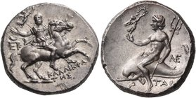 CALABRIA. Tarentum. Circa 240-228 BC. Didrachm or nomos (Silver, 20 mm, 6.54 g, 4 h), Kallikrates, Epikr... and Ne.... Bareheaded, bearded and armored...
