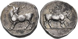 LUCANIA. Laos. Circa 480-460 BC. Stater (Silver, 17 mm, 8.11 g, 4 h). ϟΑΛ Man-headed bull standing to left, his head turned back to right. Rev. ϟΑΛ Ma...