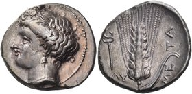 LUCANIA. Metapontum. Circa 340-330 BC. Didrachm or nomos (21 mm, 7.85 g, 8 h). Head of Demeter to left, wearing a barley wreath, a pendant earring and...