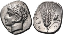 LUCANIA. Metapontum. 325-275 BC. Diobol (Silver, 12 mm, 1.34 g, 6 h), Sa.... Head of Apollo Karneios to left, horn of Ammon around his ear; below chin...