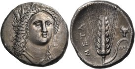 LUCANIA. Metapontum. Circa 330-290 BC. Didrachm or nomos (Silver, 20 mm, 7.74 g, 9 h), Ap... and Atha... Head of Demeter facing, turned slightly to th...