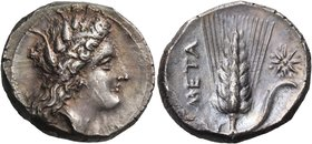LUCANIA. Metapontum. Circa 330-290 BC. Didrachm or nomos (Silver, 21 mm, 7.89 g, 7 h). Head of Demeter to right, wearing pendant earring and a grain w...
