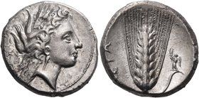 LUCANIA. Metapontum. Circa 330-290 BC. Didrachm or nomos (Silver, 20 mm, 7.80 g, 3 h). Head of Demeter to right, wearing long pendant earring and a gr...