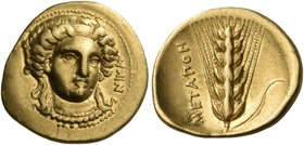 LUCANIA. Metapontum. Time of Kleonymos, circa 302 BC. Third stater (Gold, 15 mm, 2.62 g, 8 h), Achaian standard. NIKA Head of Nike facing slightly to ...