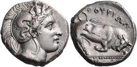 LUCANIA. Thurium. Circa 410-400 BC. Distater (Silver, 23 mm, 15.69 g, 9 h). Head of Athena to right wearing Attic helmet, adorned, on the helmet bowl ...