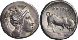 LUCANIA. Thurium. Circa 350-300 BC. Distater (Silver, 25 mm, 15.31 g, 10 h). Head of Athena to right, wearing crested Attic helmet adorned with Skylla...