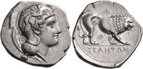 "LUCANIA. Velia. Circa 340-334 BC. Didrachm or nomos (Silver, 21 mm, 7.56 g, 7 h), from the ""Θ"" group. Head of Athena to left, wearing crested Attic he..."