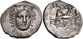 BRUTTIUM. Kroton. Circa 360 BC. Nomos (Silver, 22 mm, 7.56 g, 1 h). Head of Hera Lakinia three-quarters facing, turned slightly to the right, wearing ...