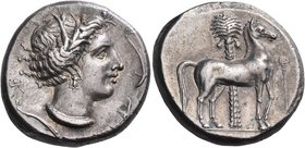 SICILY. Entella. Punic issues, circa 345/38-320/15 BC. Tetradrachm (Silver, 25.5 mm, 17.39 g, 6 h). Head of Tanit-Persephone to right, wearing wreath ...