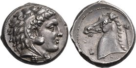 SICILY. Entella. Punic issues, circa 300-289 BC. Tetradrachm (Silver, 23 mm, 16.73 g, 3 h). Head of Herakles-Melqart to right, wearing lion's skin hea...